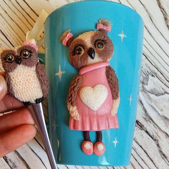 Чайная пара с мимишной совушкой подружка ежика #JenEva_кружечка…