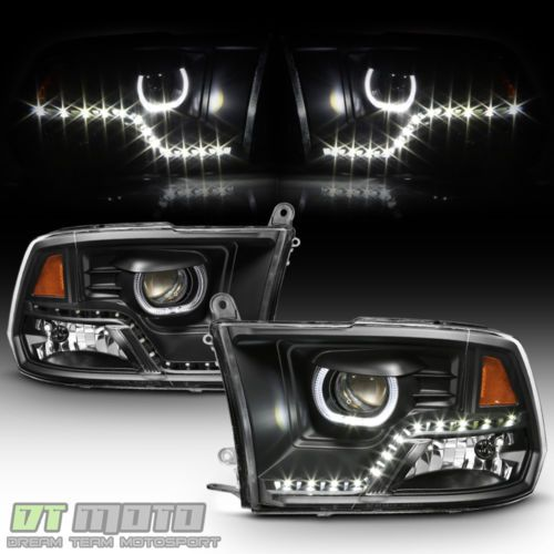 Black 2009 2018 Dodge Ram 1500 2500 3500 Drl Led Projector Halo Headlights Lamps Dodge Ram 1500 Dodge Ram Dodge