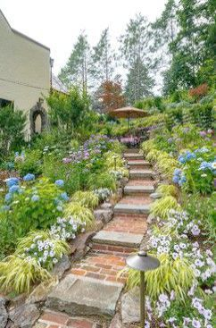 Tips For Successfully Lansdscaping Your Home S Lawn Sloped Garden Landscape Design Garden Landscaping