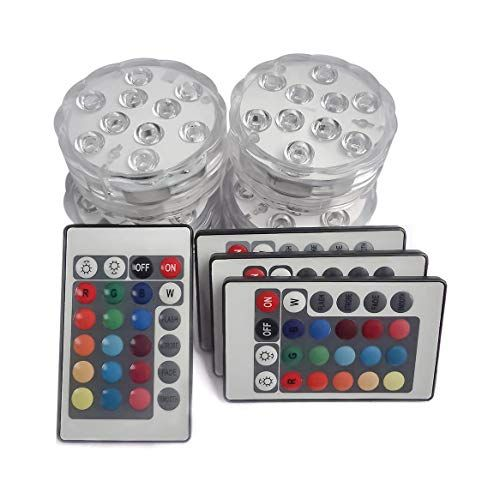 """/""""RGB Color Changing LED Tea Lights Battery Powered Submersible Vase Lamps 4-P..."""