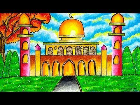 Cara Menggambar Dan Mewarnai Masjid Gradasi Warna Oil Pastel Youtube Seni Krayon Warna Cara Menggambar