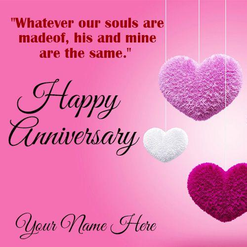 Name Write Beautiful Heart Design Anniversary Card Create Wedding Anniversary Cards Happy Wedding Anniversary Cards Wedding Anniversary Greeting Cards