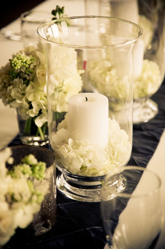 Hydrangeas candles and centerpieces on pinterest