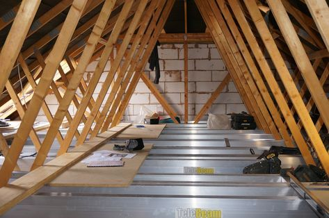 Telebeam Loft Conversion And Flooring System Is A Totally New Concept It Has Been Designed Primarily Fo Attic Design Attic Flooring Loft Conversion Truss Roof