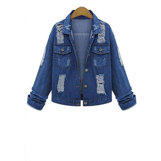 Yoins Yoins Plus Size Ripped Denim Jacket (479.780 IDR) ❤ liked on Polyvore featuring outerwear, jackets, blue, distressed jean jacket, plus size jackets, blue denim jacket, denim jacket and plus size denim jacket