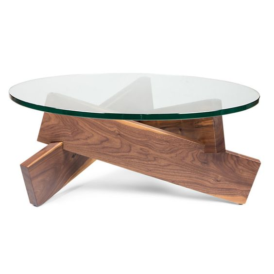 Interesting coffee table i would put a larger piece of for Interesting table legs
