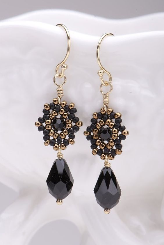Beadwoven Drop Earrings / Black Swarovski Crystal Briolettes / Gold-Filled Earwires/Noir /Night Out/ Wear With Little Black Dress - - - Luna...