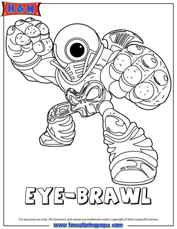 Coloring free printables and coloring pages on pinterest for Skylanders giants coloring pages eye brawl