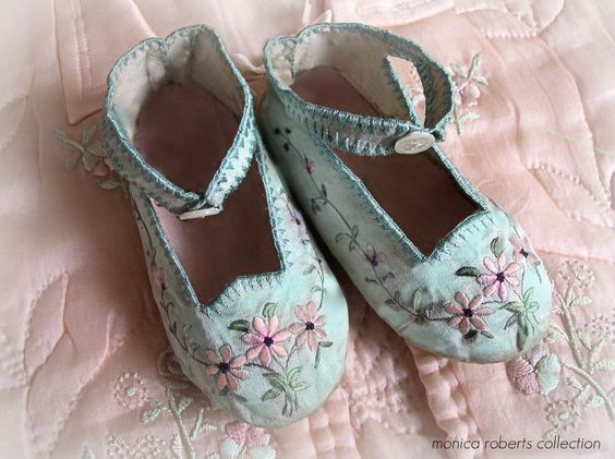 antique hand-embroidered silk baby shoes