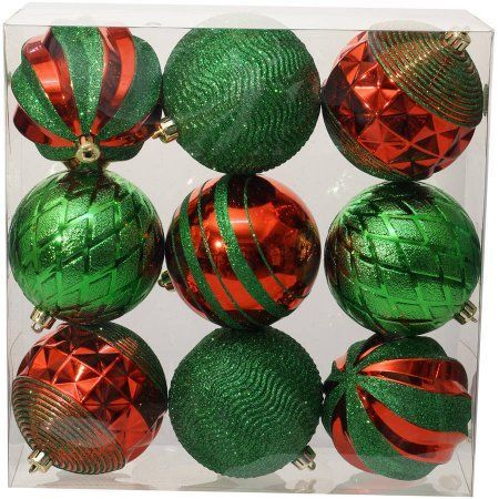 Holiday Time Christmas Ornaments Traditional 100mm Shatterproof, Set of 9, Red / Green, Multicolor