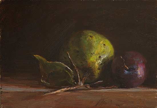 Still life with quince and plum. JMS. 8-27-14