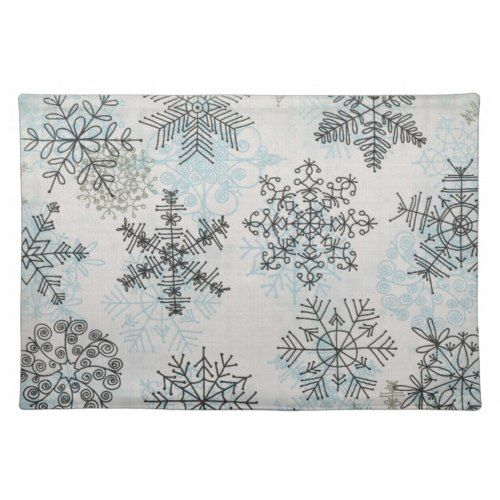 Silver Blue Snowflakes Placemats Christmas Placemats Placemats Blue Christmas