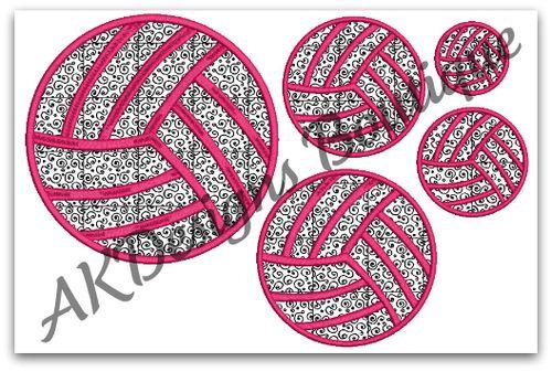 No applique volleyball machine embroidery designs