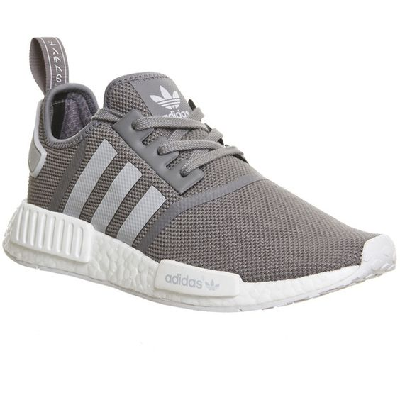 Adidas Nmd Runner ($130) ❤ liked on Polyvore featuring men's fashion, men's shoes, men's sneakers, his trainers, shoes, solid grey, trainers, mens grey shoes, mens gray dress shoes and adidas mens sneakers