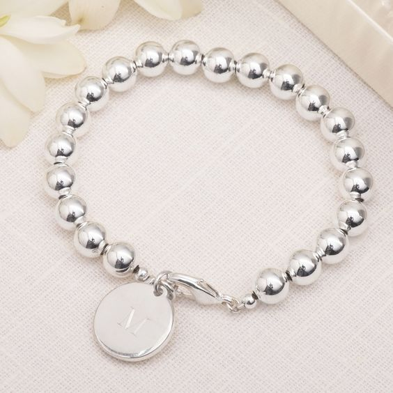 Silver-plated Personalized Bead Charm Bracelet for Bridesmaids | #exclusivelyweddings | #bridesmaidgifts