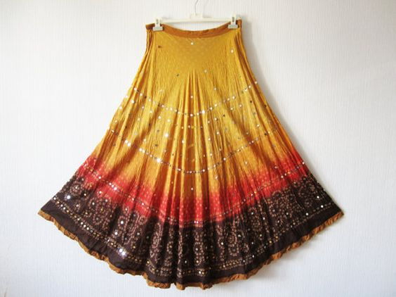 Sunset Gypsy Skirt Orange Brown Ombre Cotton by VintageDreamBox, $38.00