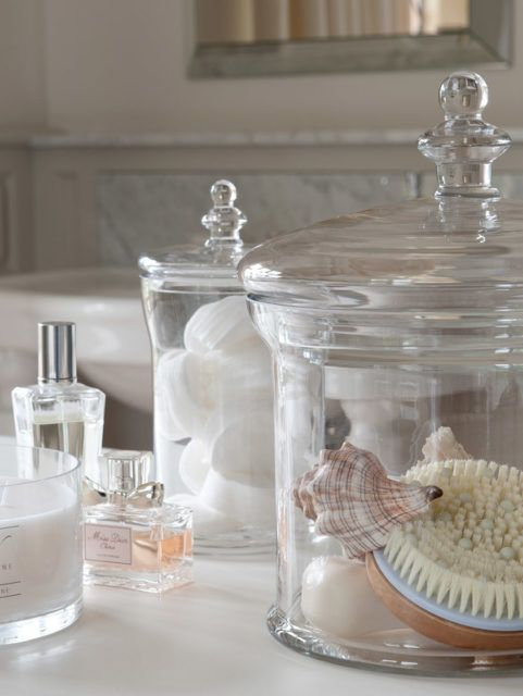Glass Pots For Bathroom Storage With Shells And Cotton Wool Pads Architecture Blog Design Interior Architecture