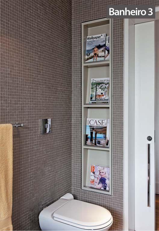 Reforma de cinco banheiros com tempo de obra e fotos de antes e depois  Boxe -> Nicho Banheiro Box