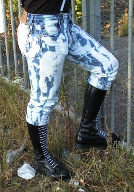Levi Bleachers Ranger Boots White Laces Skinhead