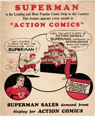 Superman   Early ad to start following the adventures of Superman in Action Comics.  comic books comics Superman
