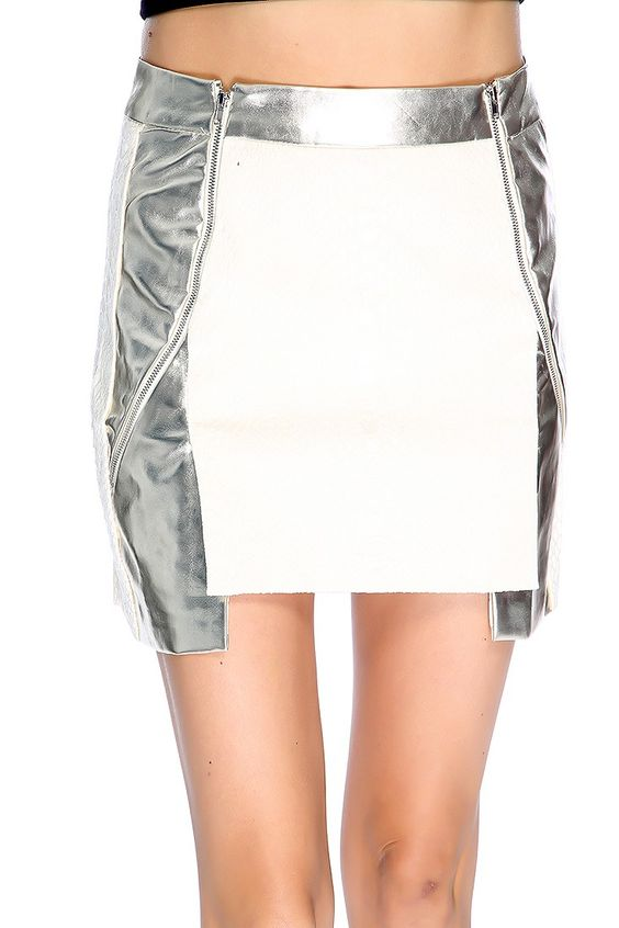 Dress up in this sexy mini skirt it features; faux leather, reptile skin textured, double front zip up closure, metallic trim detail, uneven hem, and fitted.