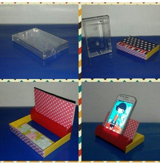 Era uma vez uma caixa de fita cassete... agora um porta celular bem colorido.. rsrs...  #simplesassimdecorar