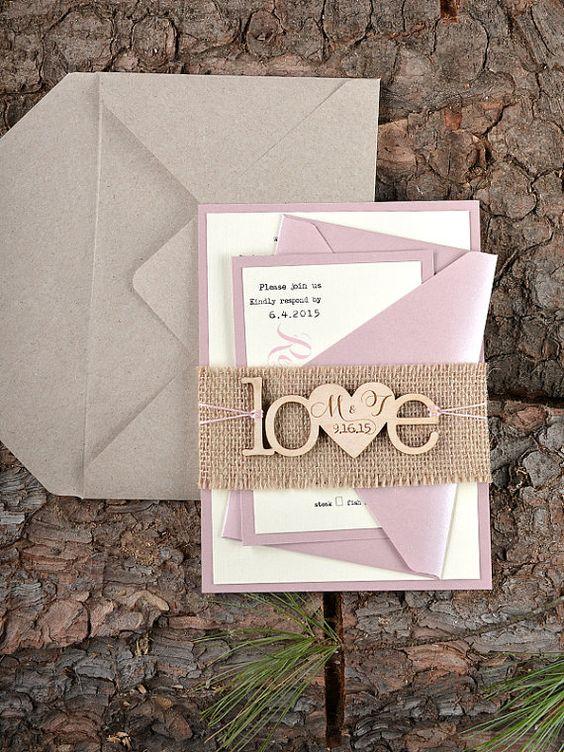 Benutzerdefinierte Liste (20) rustikal Hochzeitseinladung, Holz-Einladung, Sackleinen Einladungen, Pink Hochzeitseinladung,