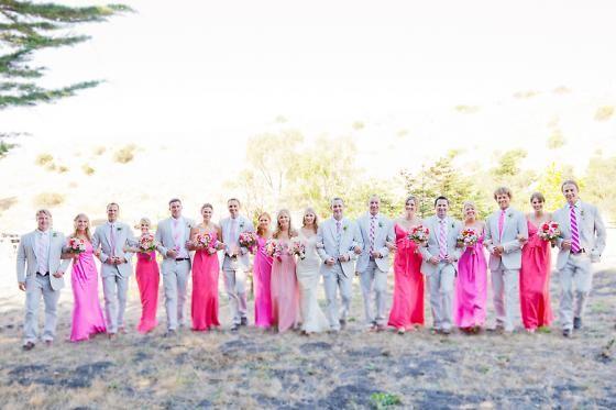 Vibrant shades of pink make this bridal party pop!