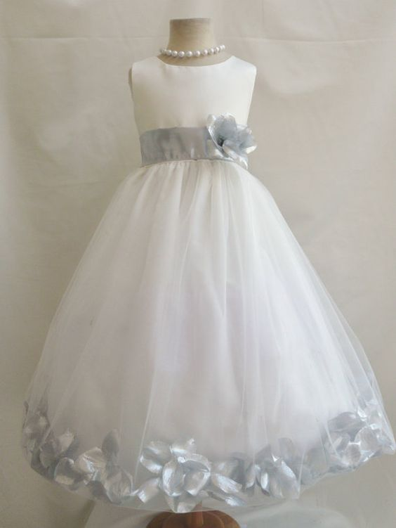Flower Girl Dresses - IVORY with Silver Rose Petal Dress (FD0PT) - Wedding Easter Bridesmaid - For Baby Children Toddler Teen Girls