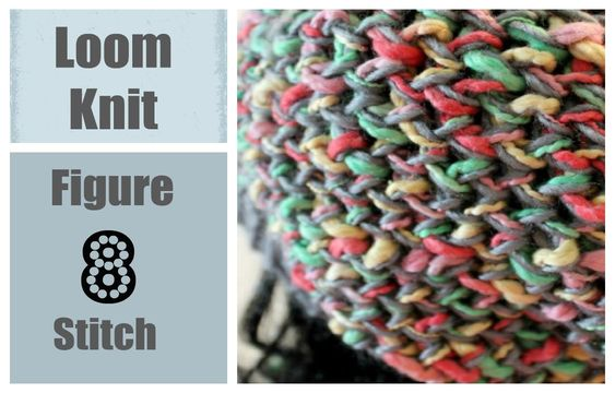 Loom Knitting Stitches For Beginners : LOOM KNITTING STITCHES Figure 8 Stitch on a Round Loom Loom Knitting Pint...