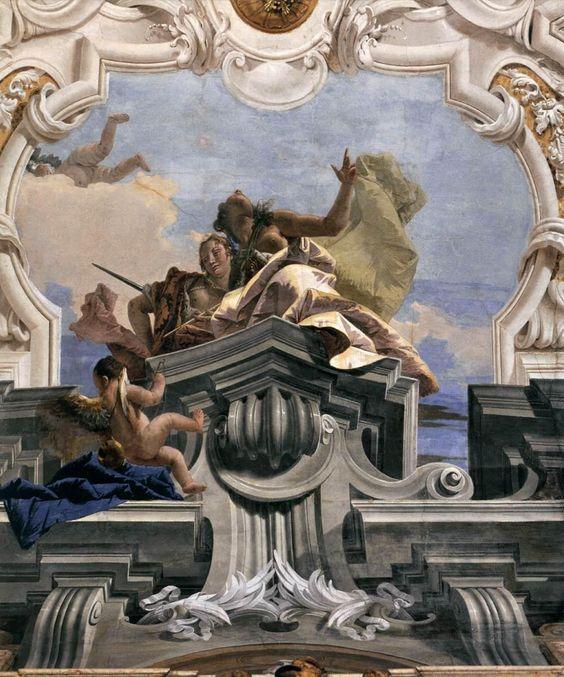 Side ceiling cartouche. Tiepolo. 1743-1750. Fresco. Palazzo Labia. Venice.: