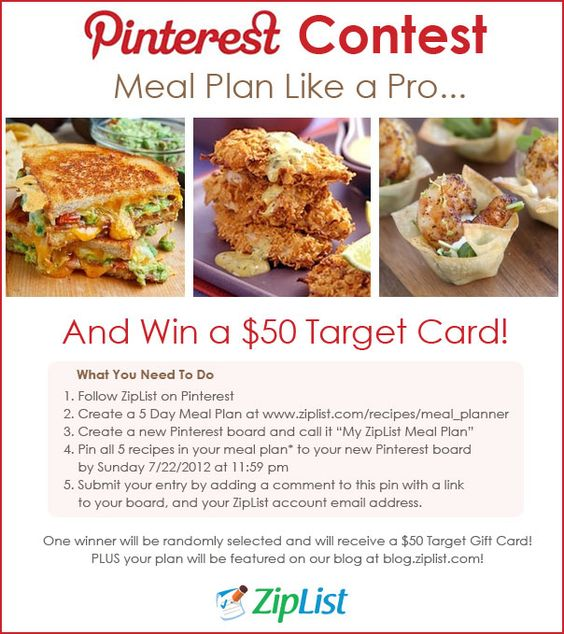Pinterest Contest!  Click on the pin to view contest details    Update: If you do not feel comfortable commenting to this pin with your email address, feel free to submit your entry to news@ziplist.com.    We can't wait to see these delicious meal plans!