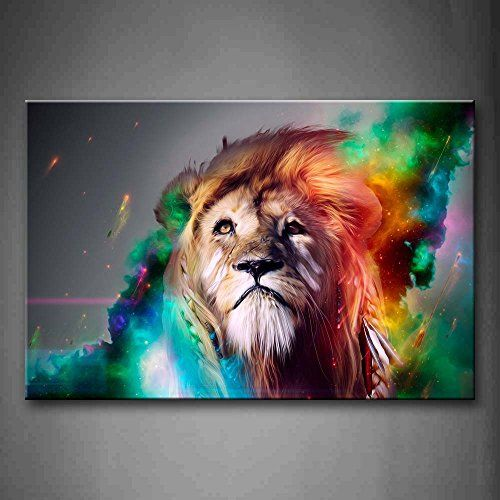 Colorful Lion Artistic Wall Art Painting The Picture Prin...
