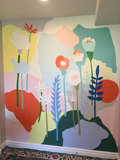 Mural Of Abstract Flowers By Artist Travis Knight Painted In Bend Oregon Flower Mural Wall Painting Wall Murals Painted
