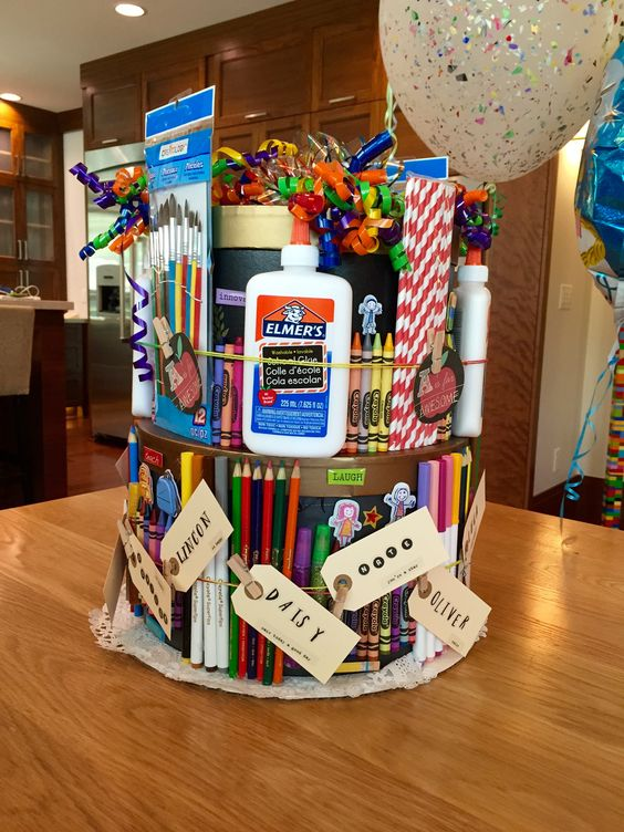 teacher appreciation tower loaded with school supplies.