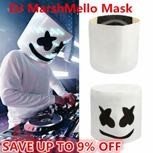 MarshMello DJ Mask Full Head Helmet Halloween Cosplay Mask Bar Music Props