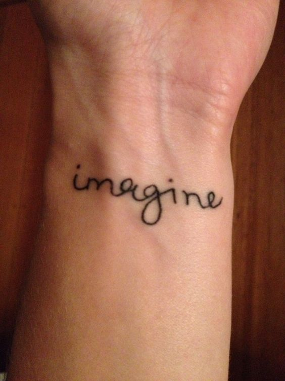 Imagine tattoo in John Lennon's handwriting---super cool ...