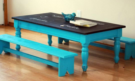 Chalkboard table with handmade benches
