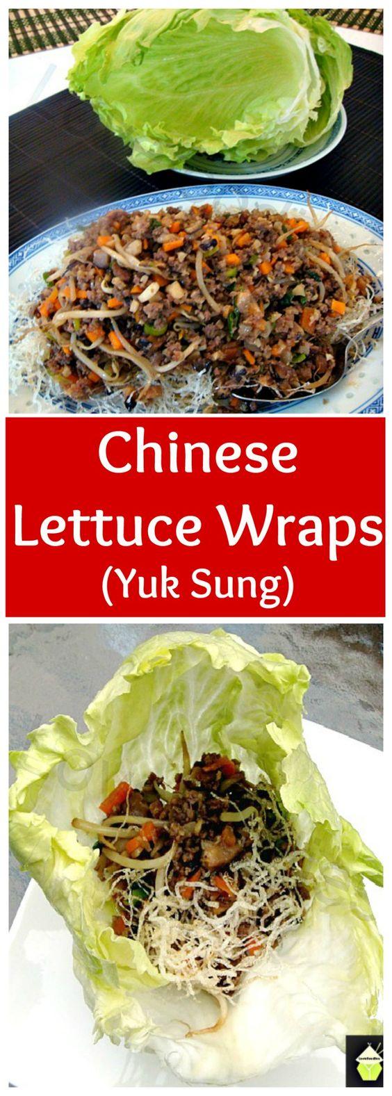 Yuk Sung - Chinese Lettuce Wraps - Inside each lettuce leaf is a little pile of…