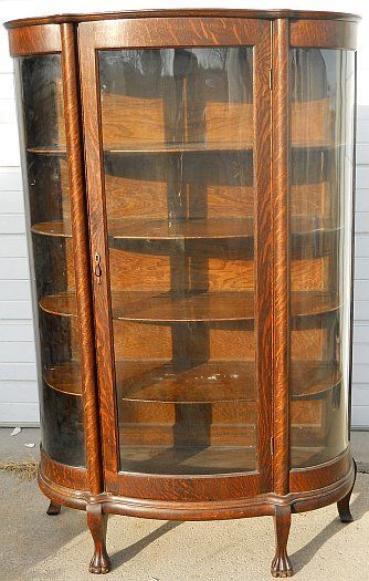 Antique Curio Cabinets | QUARTER SAWN OAK CURVED GLASS CHINA CABINET W/  CLAW FEET u0026