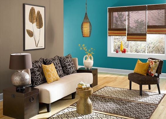 This is the project I created on Behr.com. I used these colours: BERMUDAN BLUE(PPU13-18),CALYPSO BLUE(HDC-CL-27),CARIBE(PPU13-1),SOPHISTICATED TEAL(HDC-CL-22),COLLECTIBLE(PPU7-4),