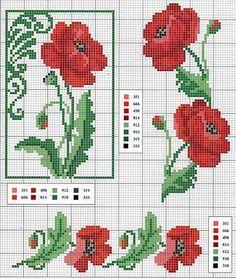 Red Poppy counted cross stitch graph from ENCANTOS EM PONTO CRUZ: Flores