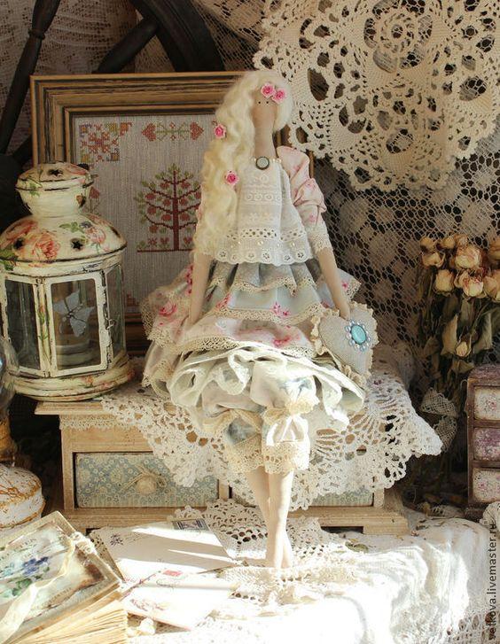 Купить Мариз интерьерная текстильная кукла тильда ангел - голубой, розовый, кукла, куклы: