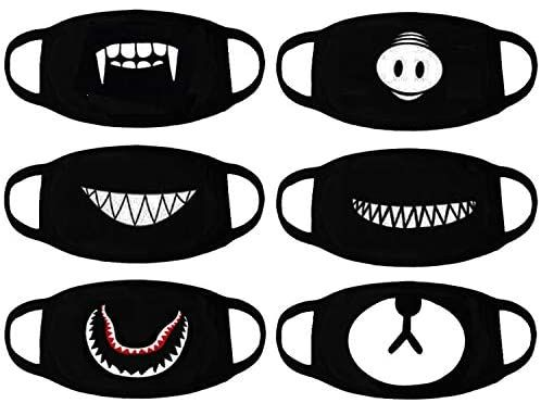 Atomcool Anime Mouth Mask 6 Pack Unisex Cool Anti Dust Face Mouth Masks Black Fashion Face Mask For Kids Face Masks For Kids Mask For Kids Fashion Face Mask