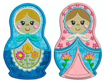 MUÑECAS rusas máquina bordado de Applique por embroiderquilt
