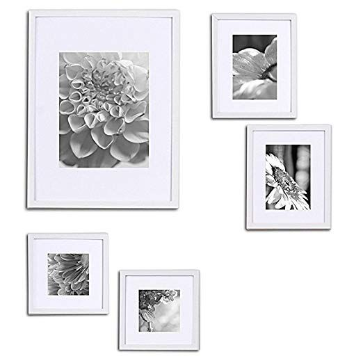 Amazon Com Gallery Perfect 5 Piece White Wood Photo Frame Gallery Wall Kit With Decorative Art Prints Hanging Template Picture Fra Gallery Wall Frames White Photo Frames Frames On Wall