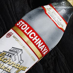 The real thing, Stolichnaya Russian vodka that burns all the way down and lights a fire in your chest.