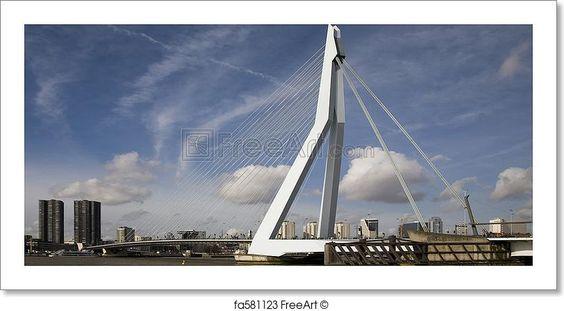 """Erasmus bridge, rotterdam, holland"" - Art Print from FreeArt.com"