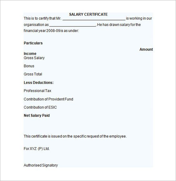 sample salary certificate template documents pdf word - proof of income letter