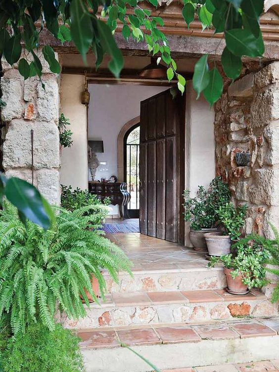 Fachadas y zonas de entrada con estilo blanco y negro - Entradas de casas de campo ...